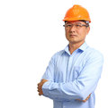 Portrait of an handsome engineer isolated on white Royalty Free Stock Photo