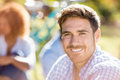 Portrait of handsome man smiling at camera Royalty Free Stock Photo
