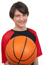 Portrait handsome smiling basketball player white background Stock Image