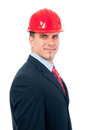 Portrait of handsome smiling engineer with hardhat Royalty Free Stock Images