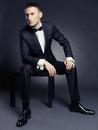 Portrait handsome stylish man elegant black suit Royalty Free Stock Photography