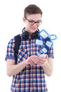 Portrait of handsome teenage boy sending messages with smart pho phone isolated on white background Royalty Free Stock Images