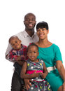 Portrait of happy african american family isolated smiling on white background Stock Photos
