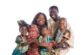 Portrait of Happy African American Family Wearing Traditional Co Royalty Free Stock Photo