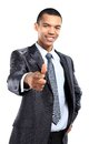 Portrait of happy african business man pointing at you against white background Royalty Free Stock Photography