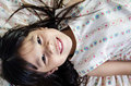 Portrait of happy asian cute girl little smile Stock Image