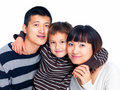 Portrait of a happy Asian family on white Stock Photos