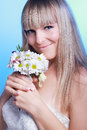 Portrait of happy bride with a bouquet Stock Images
