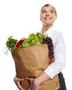 Portrait of happy business woman holding a shopping bag Stock Photo