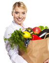 Portrait of happy business woman holding a shopping bag Stock Photos