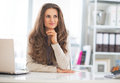 Portrait of happy business woman at work in office Royalty Free Stock Photos