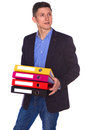 Portrait of happy businessman with folders smiling Stock Photo
