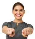 Portrait of happy businesswoman pointing at you isolated over white background horizontal shot Stock Photography