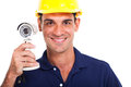 Portrait happy cctv system installer close up Royalty Free Stock Photo