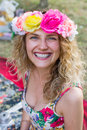 Portrait of happy cheerful beautiful young woman, outdoors Royalty Free Stock Photo