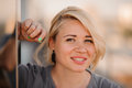 Portrait of happy cheerful smiling young beautiful blond woman, Royalty Free Stock Photo