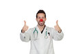 Portrait of happy clown doctor isolated over white background Royalty Free Stock Photo