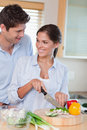 Portrait of a happy couple cooking Stock Images