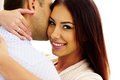 Portrait of a happy couple hugging closeup Royalty Free Stock Images