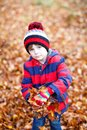 Portrait of happy cute little kid boy with autumn leaves background in colorful clothing. Funny child having fun in fall Royalty Free Stock Photo