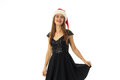 Portrait of happy cutie girl in santa hat Royalty Free Stock Photo