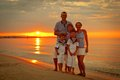 Portrait of happy family near yacht outdoor Royalty Free Stock Photo