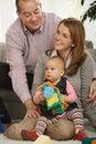 Portrait of happy family of three Royalty Free Stock Photo