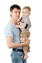 Portrait of a happy father with his little son isolated on whit Stock Image