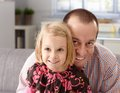 Portrait of happy father and little daughter Stock Image
