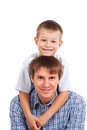 Portrait of happy father and son. isolated Stock Image