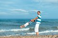 Portrait of happy father and son at sea outdoor Royalty Free Stock Photography