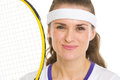 Portrait of happy female tennis player Royalty Free Stock Photography