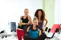 Portrait of happy fit girls at the gym Royalty Free Stock Photo