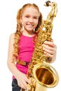 Portrait of happy girl playing alto saxophone Royalty Free Stock Photo