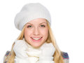 Portrait of happy girl in winter clothes isolated on white Stock Photography