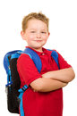 Portrait of happy grade school student wearing backpack back to education concept with Royalty Free Stock Photos