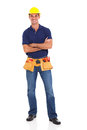 Portrait happy handyman tool belt isolated white background Stock Photos