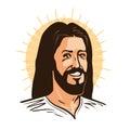 Portrait of happy Jesus Christ. Messiah, God symbol Christianity. Cartoon vector illustration Royalty Free Stock Photo