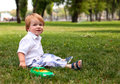 Portrait of a happy little boy in the park Royalty Free Stock Photography