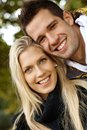 Portrait of happy loving couple outdoors Royalty Free Stock Images