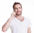 Portrait of happy man calling by mobile in casuals isolated on white concept communication Royalty Free Stock Photos