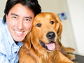 Portrait happy man dog vet Stock Photos