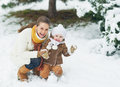 Portrait of happy mother and baby in winter park high resolution photo Stock Image