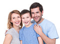 Portrait of the happy parents with son looking at camera isolated on white background Royalty Free Stock Images