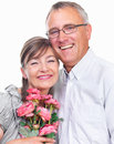 Portrait of a happy senior man and woman Stock Photos