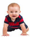 Portrait of happy smiling baby boy crawling Royalty Free Stock Photo
