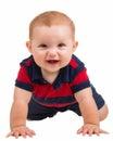 Portrait of happy smiling baby boy crawling