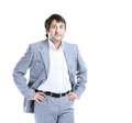 Portrait of happy smiling business man, isolated white background Royalty Free Stock Photo