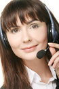 Portrait of happy smiling cheerful support phone operator in hea Stock Photos