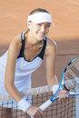 Portrait of Happy Smiling Female Tennis Player at Court Standing Stock Photos